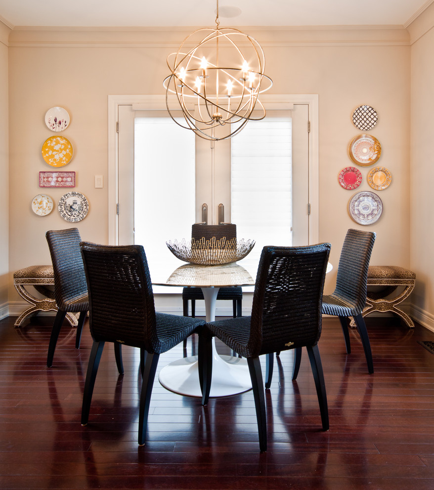 Plug in Chandelier Dining Room Contemporary with Animal Print Breakfast Nook Crown Molding Dark Stained Wood Floor Dining Eat In