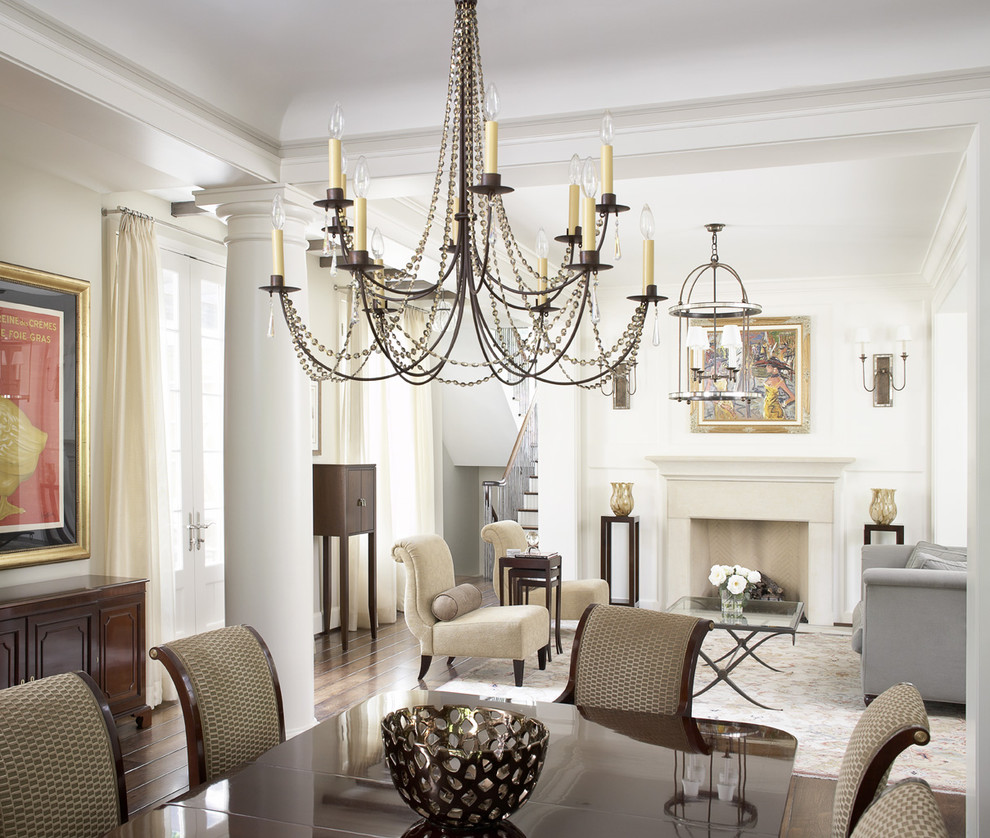 plug in chandelier Dining Room Traditional with chandelier column dining room Fireplace glass coffee table great room hardwood floors
