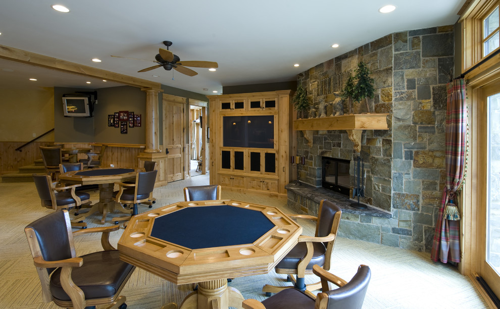 poker tables for sale Basement Traditional with basement brown wall built-in media center ceiling fan light wood poker table