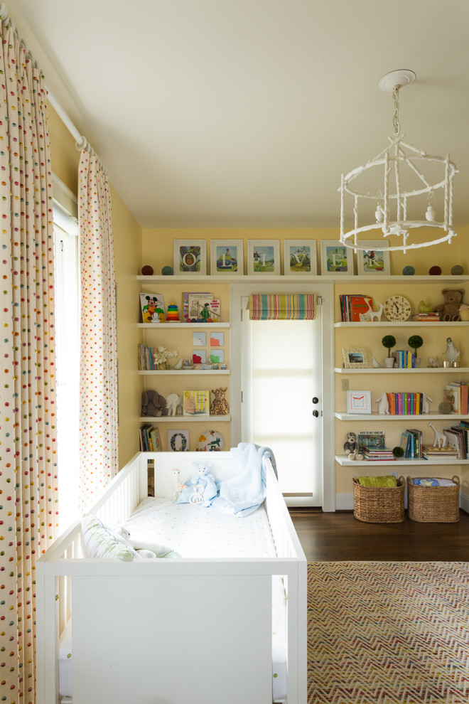 polka dot curtains Nursery Transitional with Baby Room books boxwood bright colors built in shelves cage pendant chevron