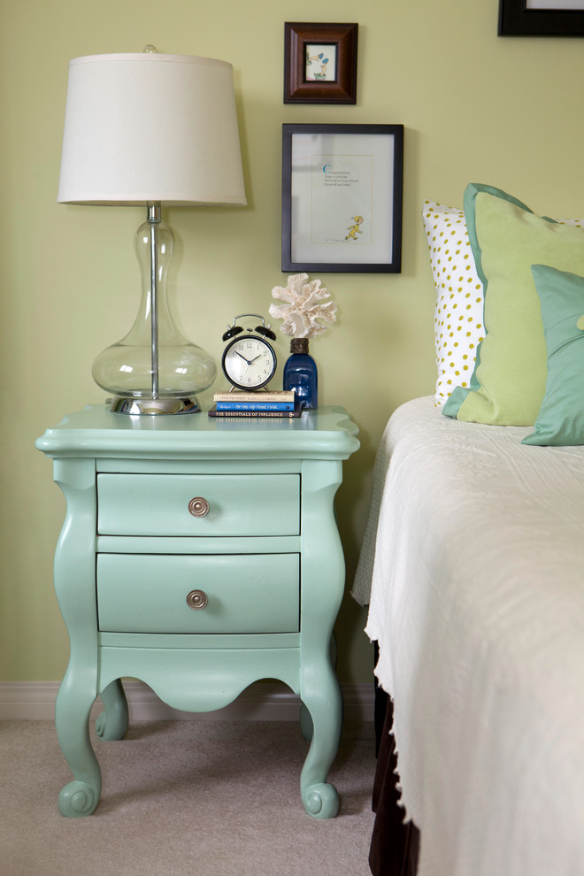 Polka Dot Sheets Bedroom Eclectic with Cream Coverlet Curvy End Table Green and White Polka Dot Sheets