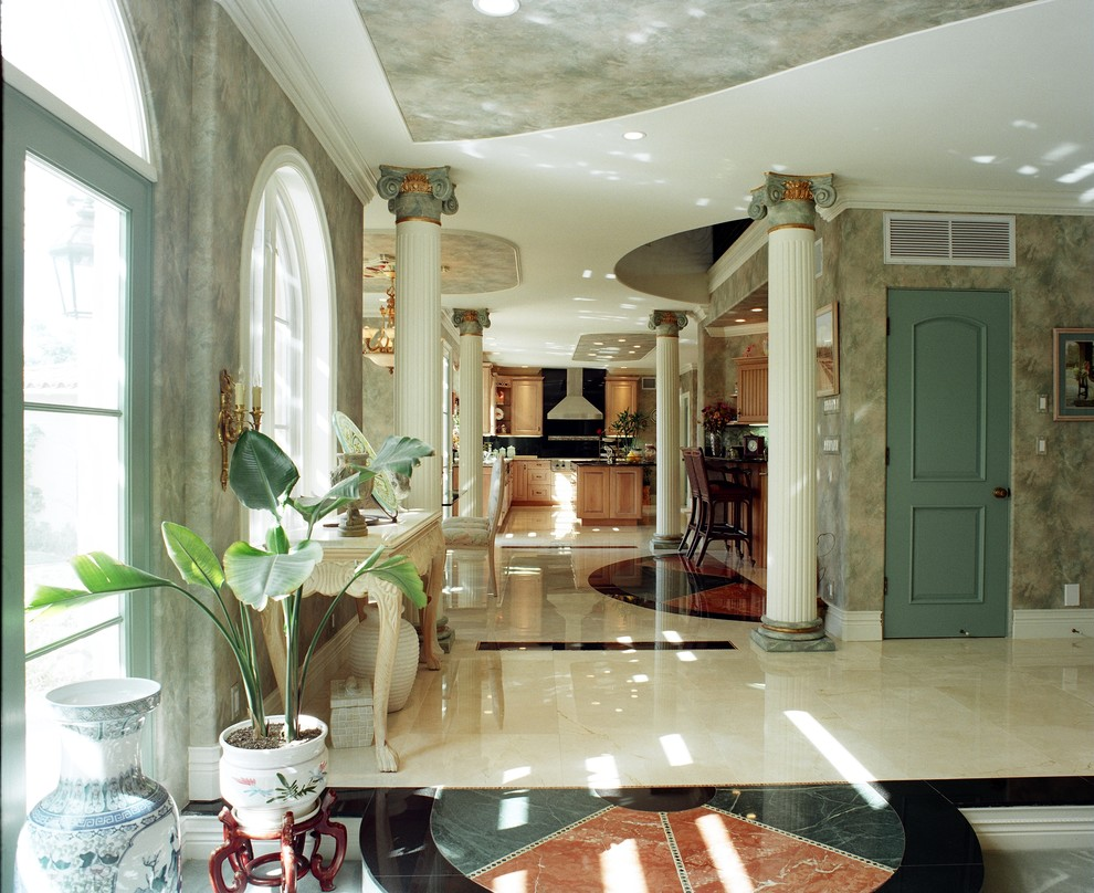 Polka Dot Sheets Hall Mediterranean with Ceiling Design Columns Design Build San Marino Granite Floor Hallway Italian Design