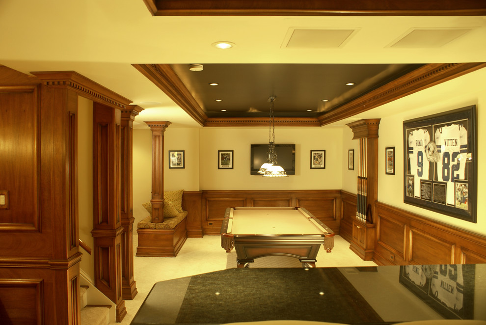 Pool Cue Racks Basement Traditional with Applied Molding Cue Rack Custom Made Ceiling Boxes Custom Residential Woodwork Custom