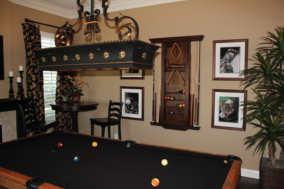 Pool Cue Racks Family Room Traditional with Bistro Table Island Fixtures Lightfixtures Pool Cue Holder Pool Room Woven Woods