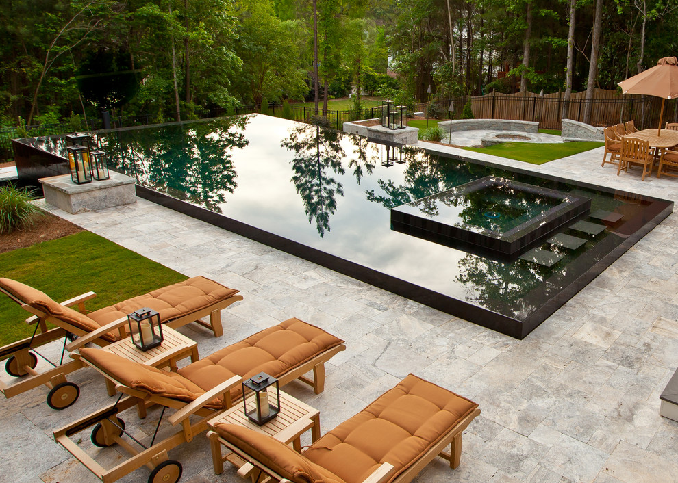 Pool Floats Pool Contemporary with Black Infinity Edge Pool Brown Carmel Fire Pit Infinity Pool Lanterns Lounge
