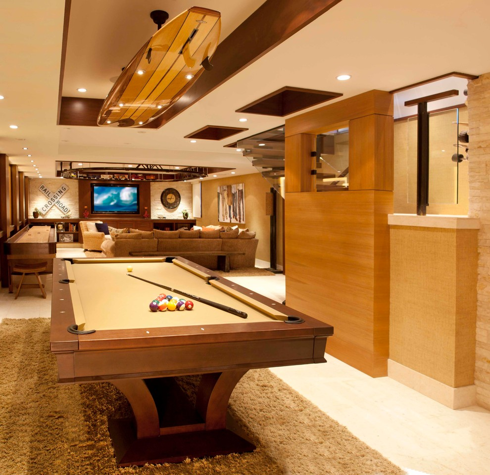 Pool Table Light Fixture Basement Contemporary with Basement Billiard Room Billiards Bright Basement Cream Floating Staircase Light Flooring Man