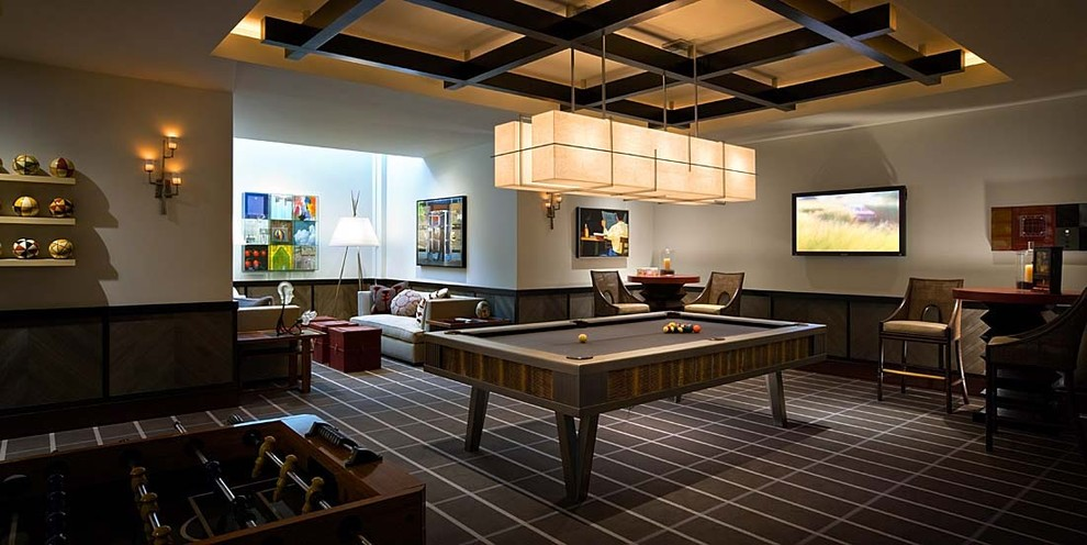 pool table light fixture Family Room Contemporary with accent ceiling billiards brown carpet carpet contemporary desert home contemporary game room