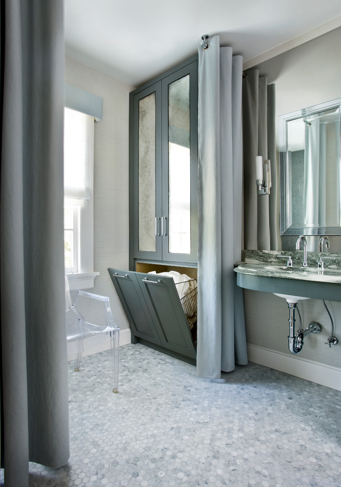 pop up hamper Bathroom Traditional with gray gray tiled floor green grey grey tile laundry laundry basket mirror
