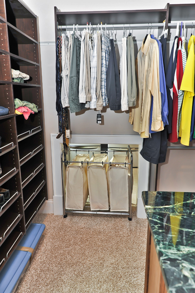 Pop Up Hamper Closet Traditional with Beige Carpet Beige Wall Built in Closet Shelves Built in Shelves Closet Clothes Rod
