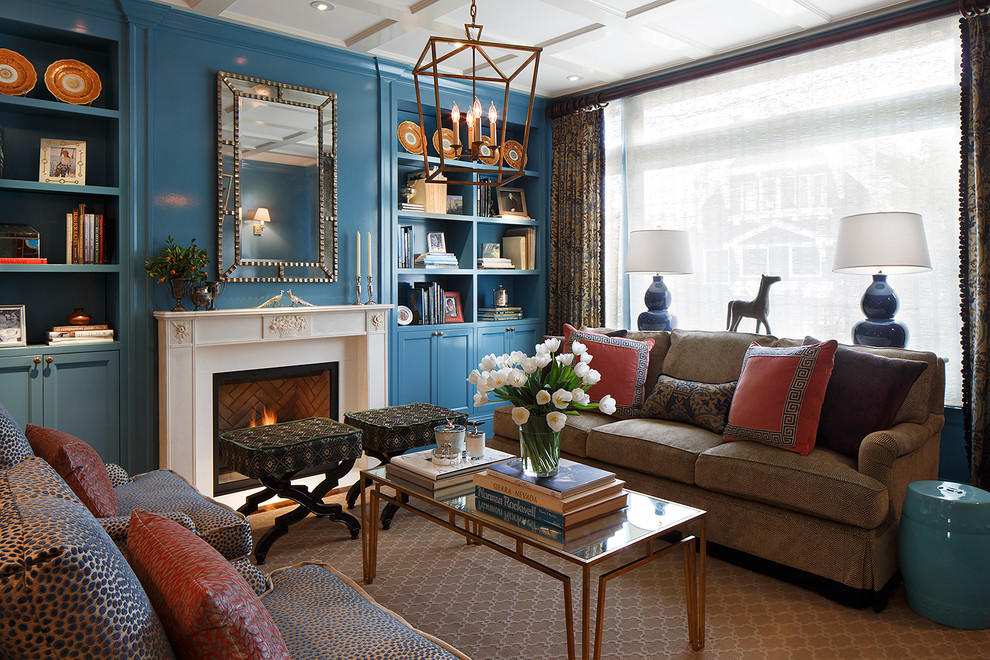 Pop Up Hamper Living Room Traditional with Blue Stool Blue Table Lamps Brown Sofa Built in Bookcase Built In
