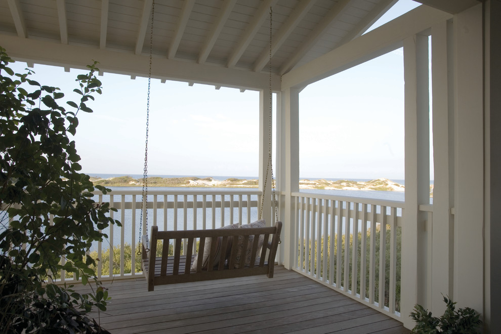 Porch Swings Porch Traditional with Balustrade Coast Deck Eaves Exposed Beams Handrail Ocean Open Porch Overhang Porch