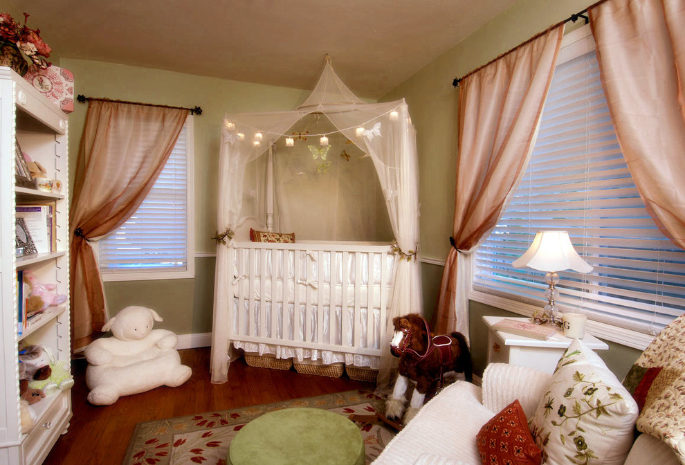 Port a Crib Nursery Eclectic with Bookcase Bookshelves Canopy Child Childrens Room Crib Curtains Drapes Green Green Walls