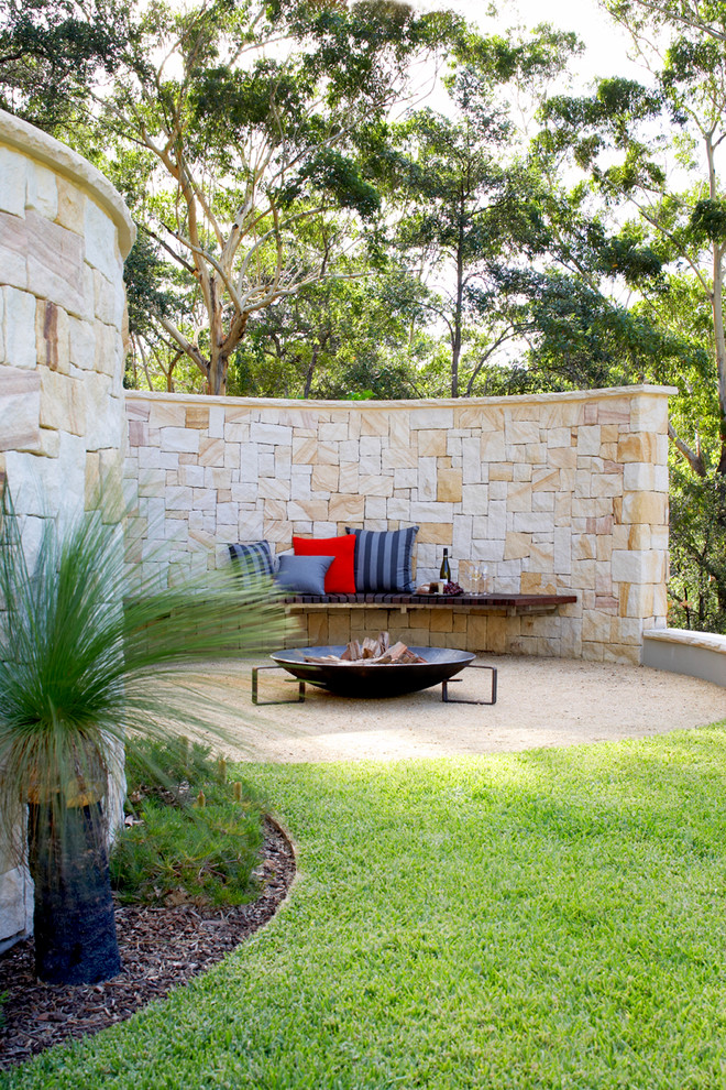 Portable Fire Pit Patio Contemporary with Built in Bench Curved Wall with Bench Seat Fire Bowl Grass Gravel Lawn