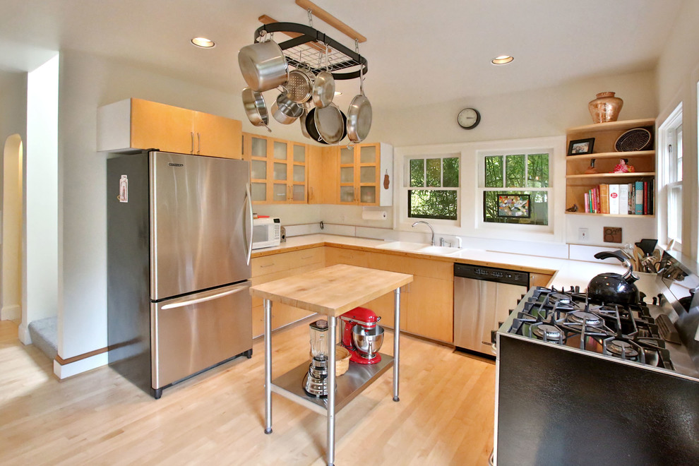 Portable Kitchen Islands Kitchen Transitional with Bungalows Frosted Glass Cabinets Hanging Pans Hanging Pot Rack Hanging Pots Irvington