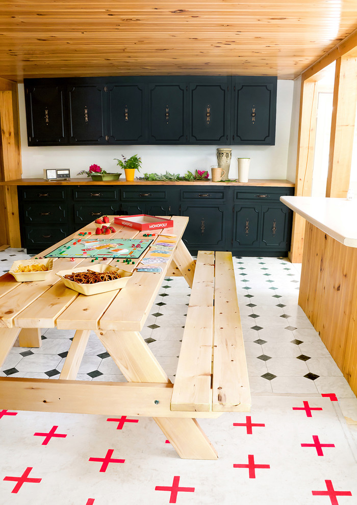 Portable Picnic Table Dining Room Rustic with Built in Cabinets Cabin Dark Cabinets Dining Bench Floor Pattern Knotty Pine Picnic
