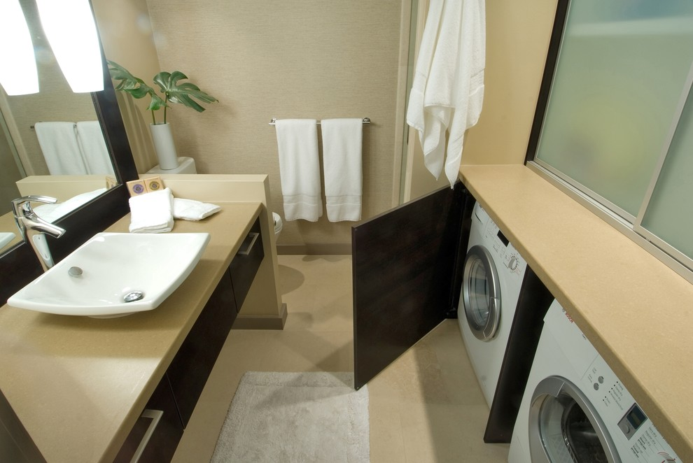 Portable Washing Machine and Dryer Bathroom Contemporary with Bath Accessories Bath Mat Beige Wall Dark Wood Cabinets Drawer Pulls Front