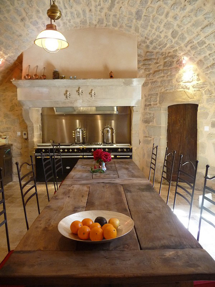 pot and pan rack Kitchen Mediterranean with arched ceiling Arched Stone cast stone hood cast stone ranges hand carved