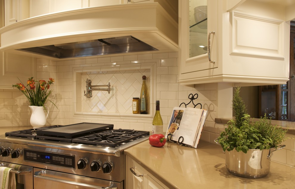 Pot Fillers Kitchen Traditional with 48 Range Built in Convection Microwave Oven Classic Subway Tile Custom Hood Dacor