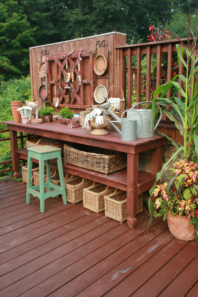 Potting Benches Deck Shabby Chic with Container Plants Deck Plate Racks Potted Plants Potting Bench Rustic Watering Can