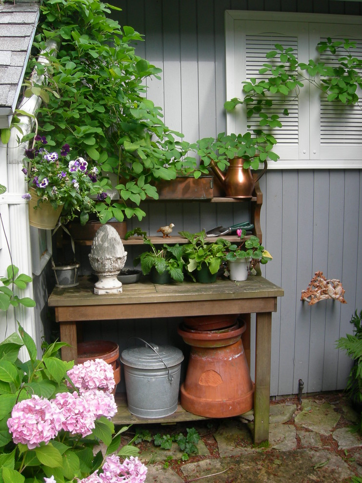 Potting Benches Landscape Traditional with Acorn Finial Copper Watering Can Flagstone Gray Exterior Hydrangea Potting Bench Shutters