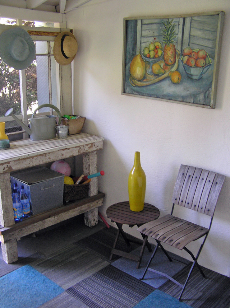 Potting Benches Porch Shabby Chic with Art Cafe Chair Carpet Tile Gardening Bench Hat Rack Mudroom Painting Potting