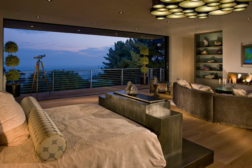 Pouf Ottoman Bedroom Modern with Balcony Cement Tiles City City View Duvet Covers Eclectic Lighting Glass House