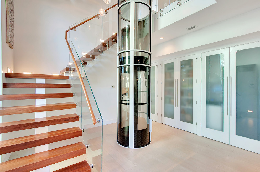 Power Lift Chairs Staircase Contemporary with Beach House Beige Floor Destin Elevator Emerald Coast Real Estate Photography Erin