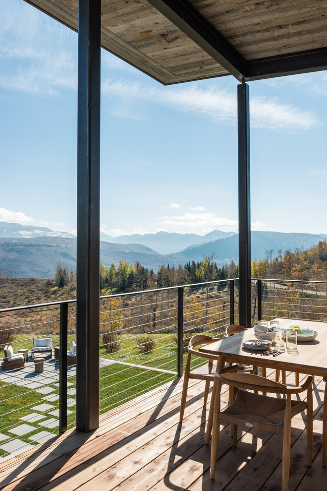 Prairie View Industries Deck Contemporary with Cable Railing Mountain Views Outdoor Dining Views Wood Decking