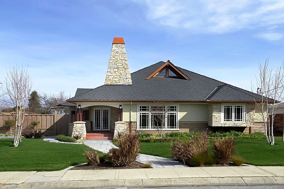 Prairie View Industries Exterior Contemporary with Casement Windows Columns Dormer Window Glass Doors Roof Window Stacked Stone Stone