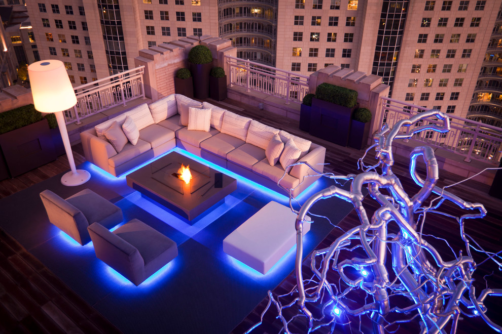 Pre Lit Led Christmas Tree Deck Contemporary with Blue Lighting Custom Furniture Dallas Fire Fire Pit Ipe Ipe Wood Iron