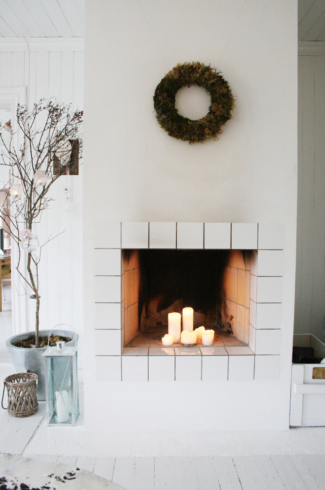 Pre Lit Led Christmas Tree Living Room Scandinavian with Candles House Plant Lantern Monochromatic Tile Fireplace Surround Wall Decor Wood Flooring