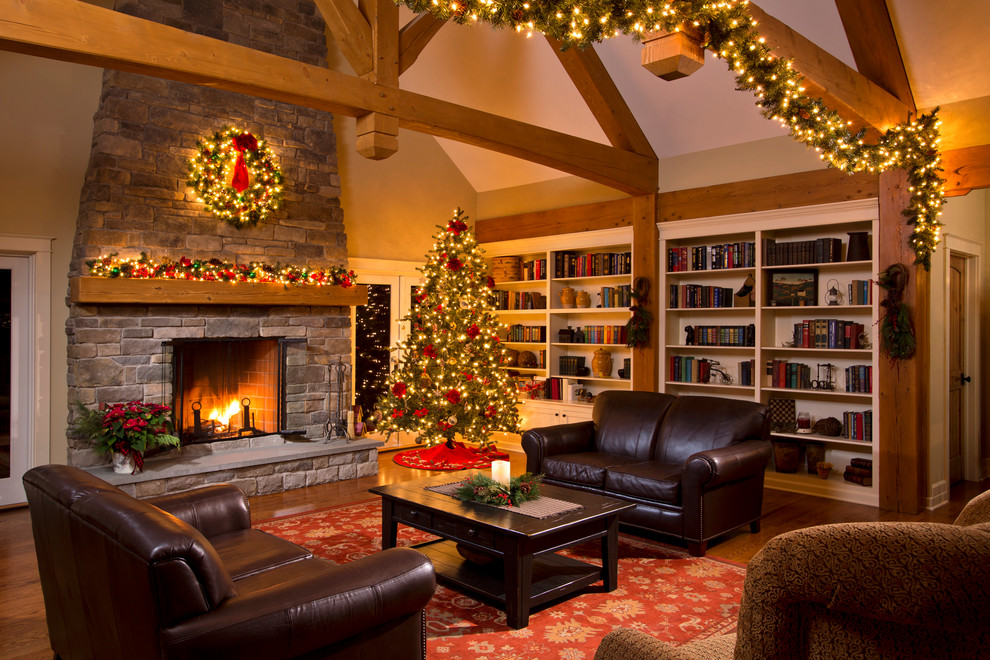 Pre Lit Led Christmas Tree Living Room Traditional with Area Rug Brown Leather Built in Book Cases Built in Bookcases Hemlock Truss