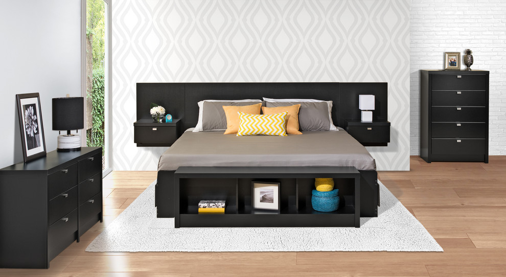 Prepac Bedroom Contemporary with 5 Drawer Dresser 6 Drawer Chest and King Storage Bed Floating Headboard