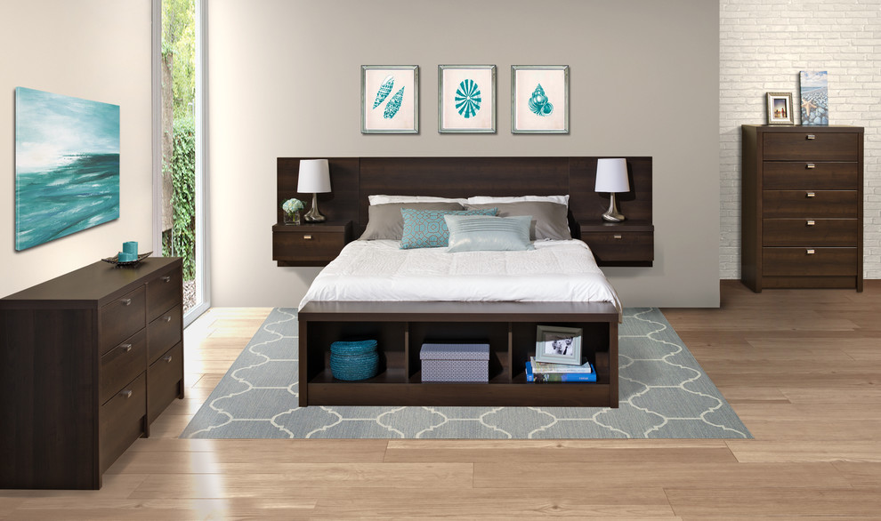 Prepac Bedroom Contemporary with 5 Drawer Dresser 6 Drawer Chest and King Storage Bed Floating Headboard1