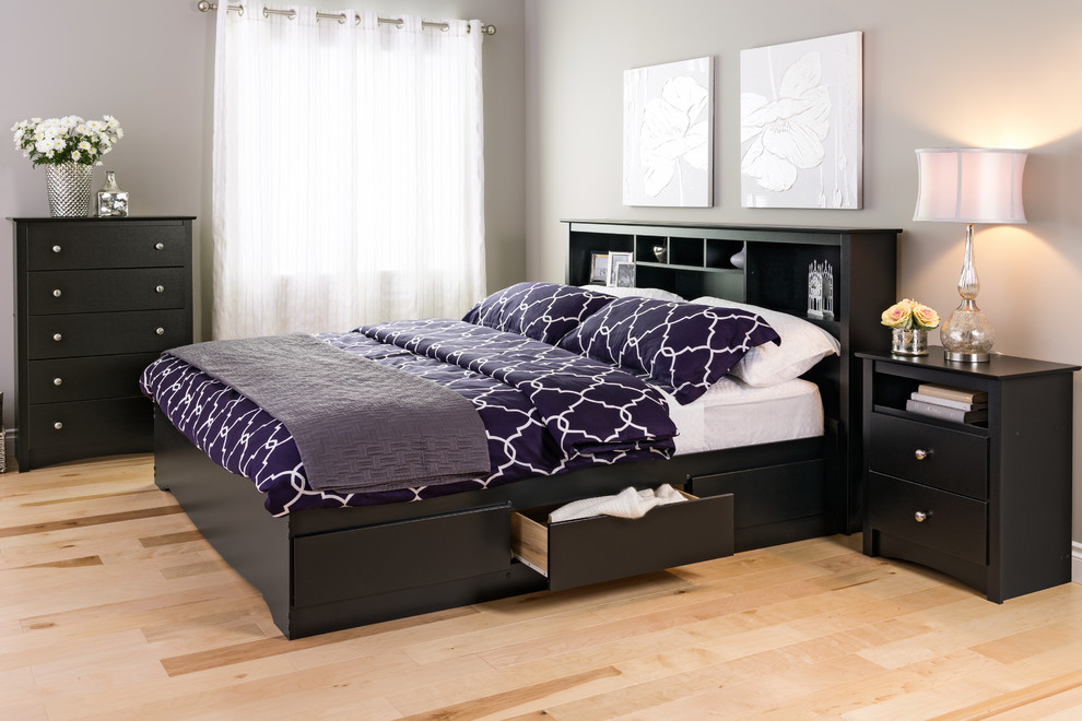 Prepac Bedroom Contemporary with Affordable Chest Dresser Headboard Nightstand Platform Beds Storage Bed Storage Headboard