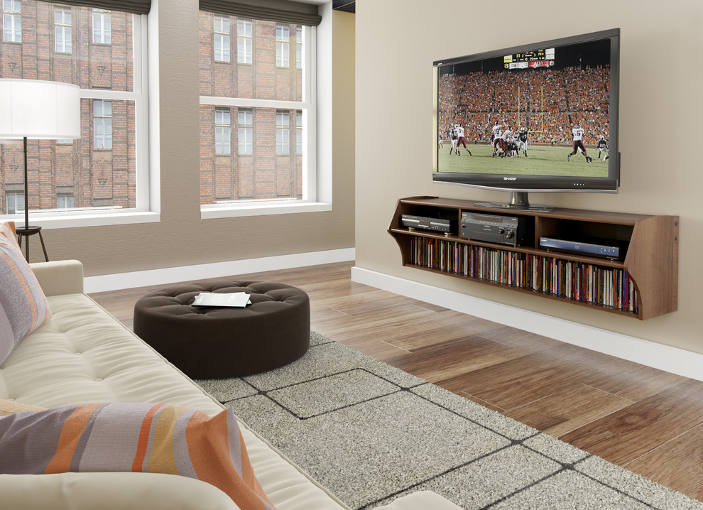 Prepac Family Room Contemporary with Altus Plus Floating Tv Stand