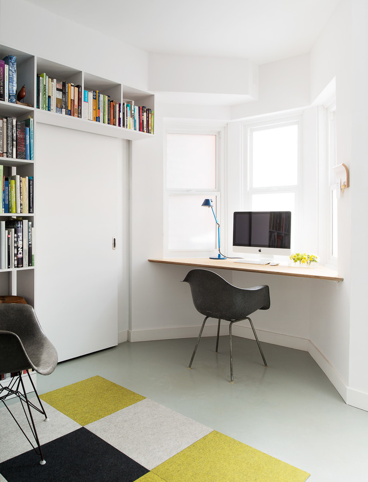 Prepac Floating Desk Home Office Contemporary with Bay Window Black Armchair Blue Table Lamp Built in Desk Built In