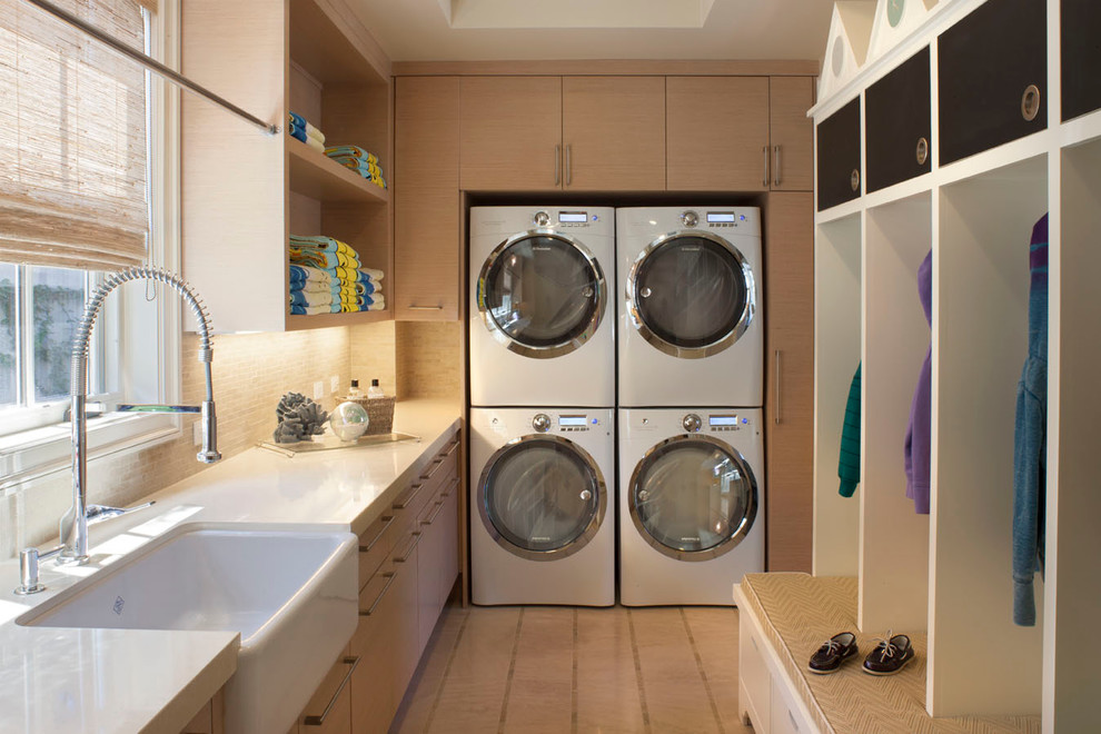 Pressure Washer Attachments Laundry Room Traditional with Cabinets Closet Entrance Farmhouse Sink Faucet Light Wood Light Wood Cabinets Mudroom
