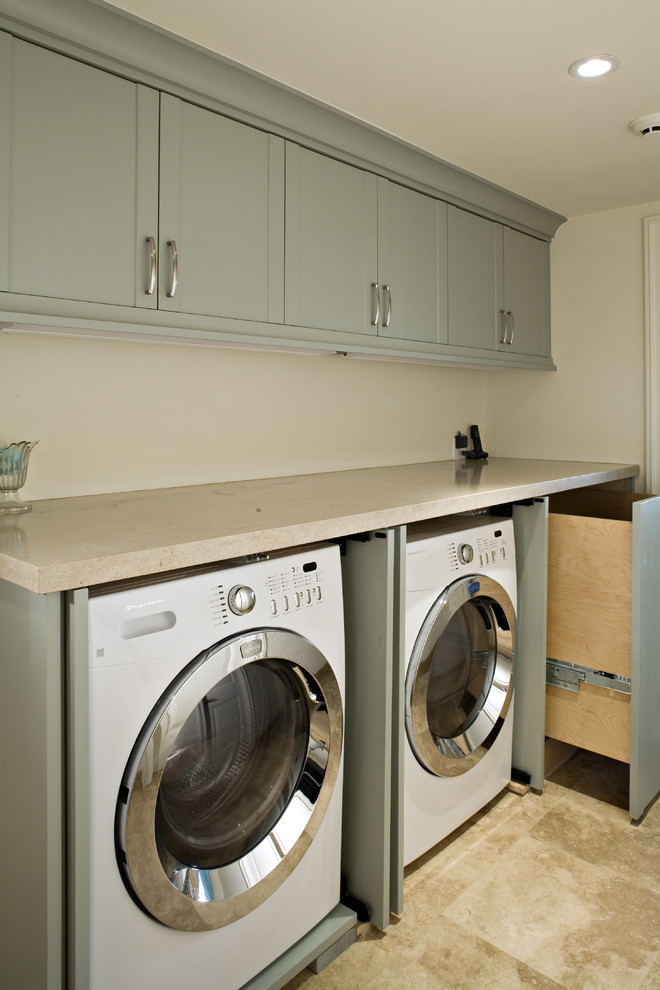Pressure Washer Attachments Laundry Room Transitional with Blue Cabinets Laundry Room Limestone Countertops Limestone Flooring Mulit Use Pull Out Laundry Basket