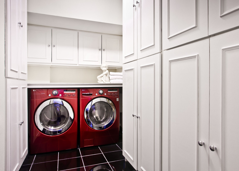 Pressure Washer Wand Laundry Room Contemporary with Black Tile Chrome Knobs Red Washer Dryer Storage White Cabinet Doors White
