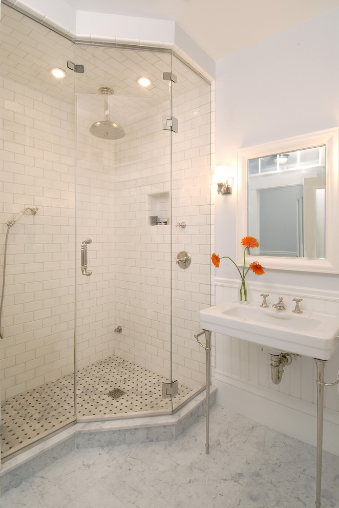 Price Pfister Shower Valve Bathroom Traditional with Basketweave Tile Console Sink Framed Mirror Gray Walls Marble Floor Rain Shower