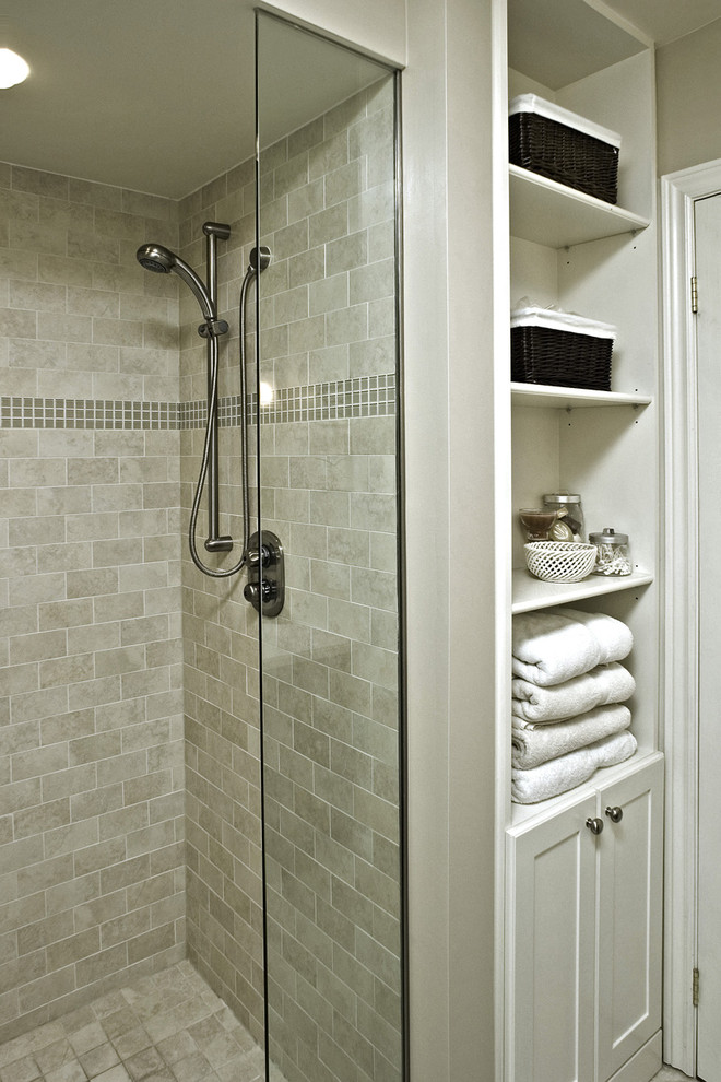 Price Pfister Shower Valve Bathroom Traditional with Bathroom Storage Glass Accent Tiles Glass Shower Door Neutral Colors Storage Baskets