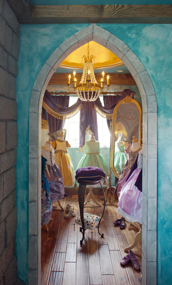 Princess Wall Decals Kids Eclectic with Blue Wall Chandelier Dressed Mannequins Dresses Dressing Room Girls Dresses Gold Ceiling