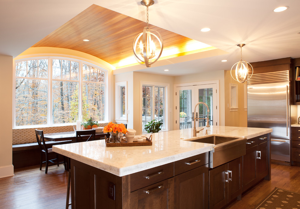 Princess Wall Decals Kitchen Transitional with Apron Sink Breakfast Nook Brookhaven Cabinetry Ceiling Lighting Cove Lighting Curved Ceiling