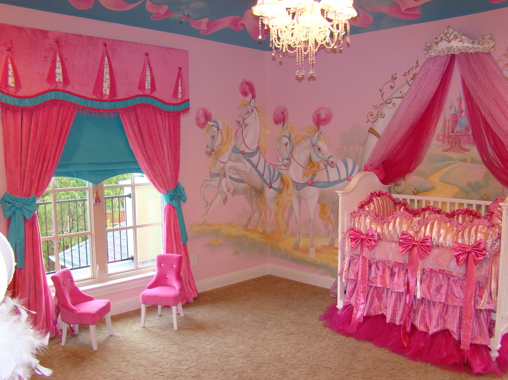 Princess Wall Decals Nursery Eclectic with Aqua Bows Carpeting Chandelier Crib Feathers Girls Room Hot Pink Mini Chairs