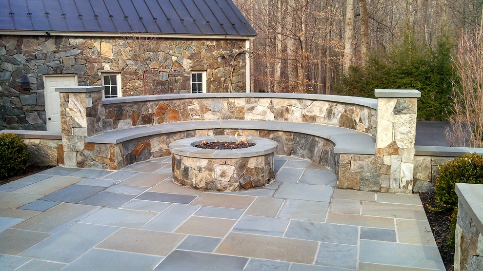 Propane Fire Pit Patio Traditional with Bench Boxwoods Building Stone Cherry Classic Driveway Elegant Entry Exposed Concrete Fire