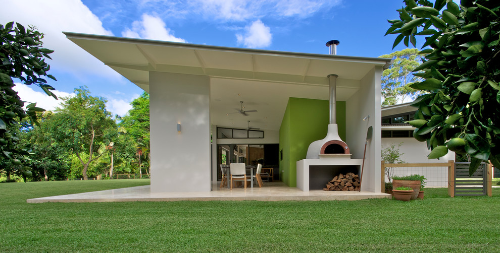 Propane Pizza Oven Exterior Contemporary with Black Framed Windows Chimney Downlights Green Lawn Indoor Outdoor Living Large Backyard Lime