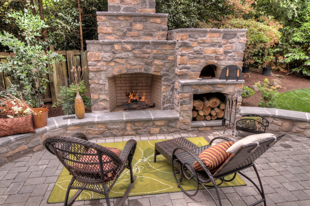 Propane Pizza Oven Patio Traditional with Chaise Lounge Decorative Pillows Fireplace Accessories Firewood Storage Outdoor Cushions Outdoor Fireplace