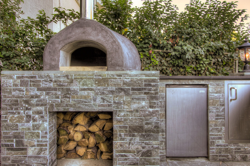 Propane Pizza Oven Patio Traditional with Firewood Storage Mini Refrigerator Neutral Colors Outdoor Kitchen Pizza Oven Stacked Stone