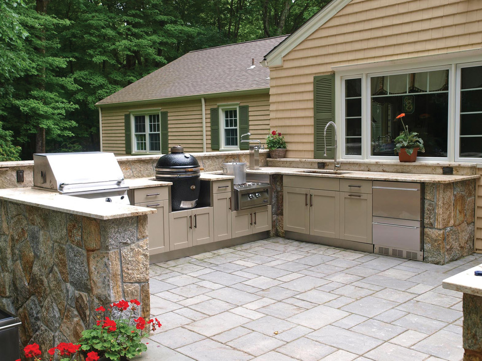 Propane Smokers Patio Traditional with Beige Cabinets Beige Drawers Beige Exterior Beige Siding Built in Grill Green Shutters